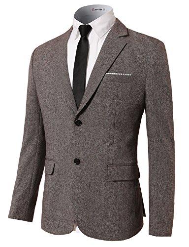 H2H Mens Elegant Casual Two Button Suit Coat Jacket Business Blazers BROWN US S/Asia M (KMOBL0111)