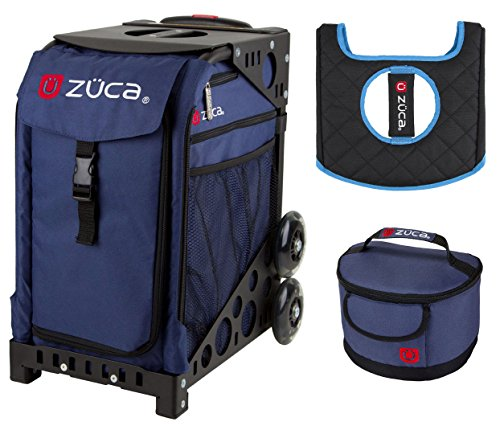 Zuca Sport Bag -Midnight with Gift Lunchbox and Seat Cover (Black Non-Flashing Wheels Frame) by ZUCA