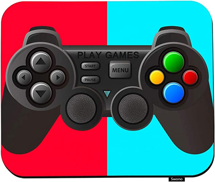 """Swono Game Controller Mouse Pads Black Joystick with Different Buttons Mouse Pad for Laptop Funny Non-Slip Gaming Mouse Pad for Office Home Travel Mouse Mat 7.9""""X9.5"""""""