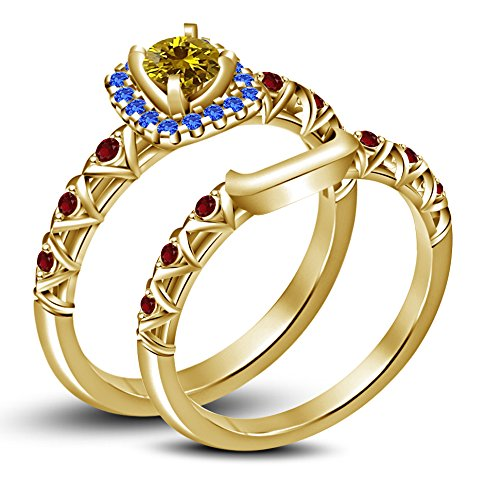 Disney Princess Inspired Belle Ring Set In Multi Colored CZ 14K Gold Plated 925 Sterling