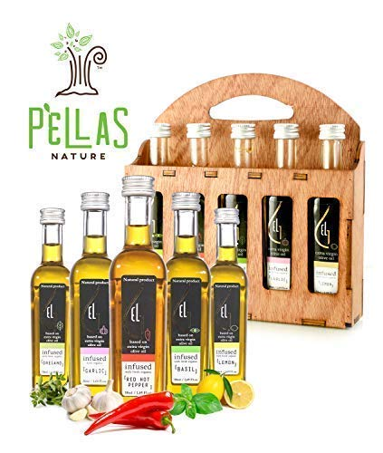 Pellas Nature | Fresh Organic Herbs Infused Greek Extra Virgin Olive Oil | 5 infused Flavors in French Glass bottles | Finishing oil | Mother's Day Wooden Gift Set | 5 X 1.7oz Each