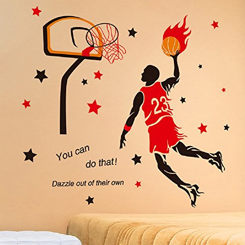 Wall Item Stickers Sports - Amaonm Creative 3D Basketball Player Dunk Basketball Star Wall Decals Removeable Walls Art Decor DIY Wall Sticker Home Decorations Decal Nursery Sticker for Boys Room Living Room Bedroom (Red)