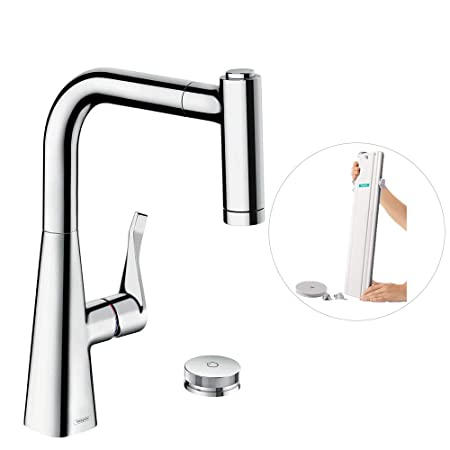 Hansgrohe M7120 H220 2 Hole Kitchen Tap 220 Pull Out Spray Hose