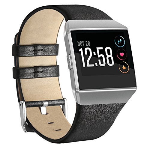 For Fitbit Ionic Band Leather, NaHai Adjustable Leather Replacement Strap for Fitbit Ionic Smart Watch, Large, Black
