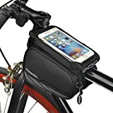 Spotact Cycling Frame Cell Phone Bag, Bike Front Top Tube Pannier Touchscreen Saddle Bag Rack Mountain Road Bicycle Pack Double Pouch Mount Phone Case for 5.7'' Smartphone