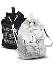 Laundry Bag Backpack Spacious 55X63 Drawstring Cotton Canvas with Strong Durable Shoulder Straps Washing Storage Organizer for College Students Dorm Room