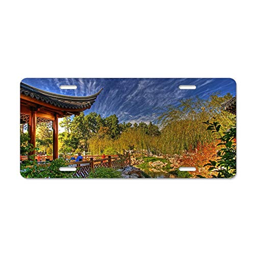 Arbor Pond Willows Person China Clouds Sky Auto Truck Car Front Tag Aluminum Metal License Plate Frame Cover for Women/Men, 12 x 6 Inch ()