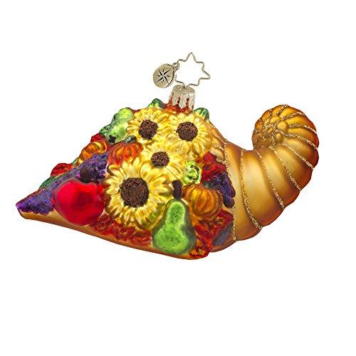 Radko Horn Of Plenty Cornucopia Thanksgiving Harvest Glass Ornament