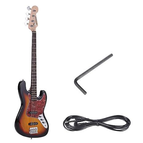 ammoon Madera Maciza JB de 4 Cuerdas Bajo Guitarra Eléctrico Cuerpo de Tilo Diapasón de Palisandro