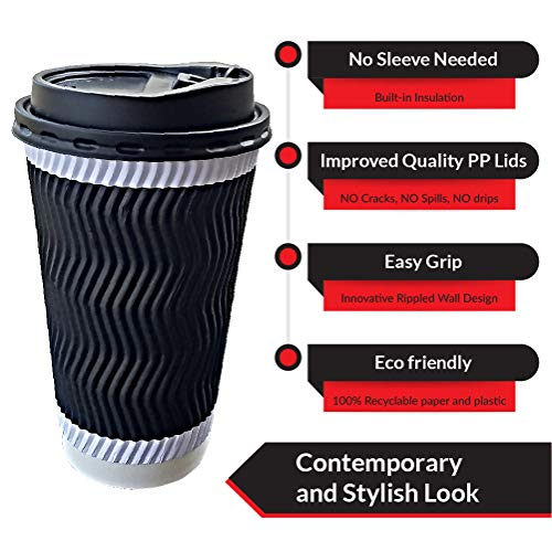 Eco Friendly 50 Pack Disposable Coffee Cups with Lids and Straws |No Sleeve needed Insulated Double Ripple Wall Cup - Heat Proof and Easy Grip |Hot Drink To Go Cups for Travel 16 OZ | Set of 50