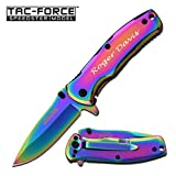 GIFTS INFINITY Free Engraving - Tac-Force Stainless Steel Quality Pocket Knife (Rainbow)