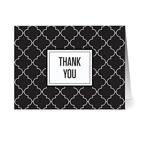 Modern Black & White Thank You - 36 Note Cards - 6 Designs - Blank Cards - White Envelopes Included