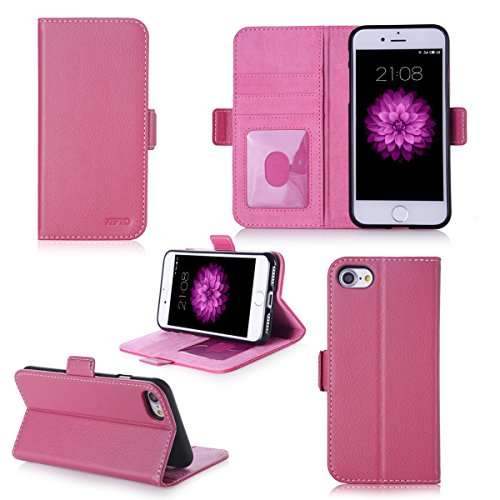 Apple iPhone 7 4.7 zoll Hülle Brieftasche Leder rosa Cover mit Kartenfach - Zubehör Etui Portfolio smartphone iPhone 7 Case Schutzhülle (Handy Wallet tasche folio PU Leder, Pink) - XEPTIO accessoires