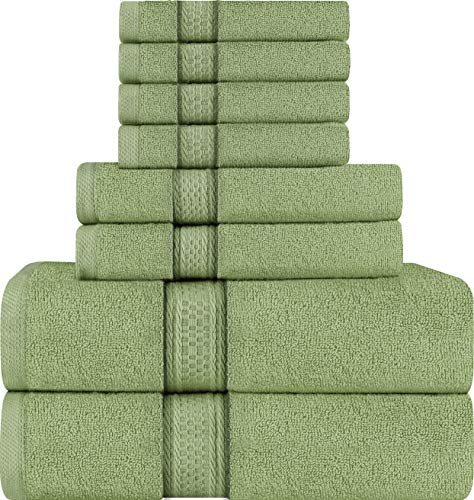 Utopia Towels 8 Piece Towel Set, Sage Green, 2 Bath Towels, 2 Hand Towels, and 4 Washcloths from Utopia Towels