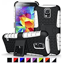S5 Case ,Galaxy S5 Case, DLF Case [ Shockproof ] Samsung Galaxy S5 Case Heavy Duty Rugged Dual Layer TPU Textured Non Slip Reinforced Polycarbonate Hybrid Case for Samsung Galaxy S5 with Kickstand and Free Screen Protector (Black+White)
