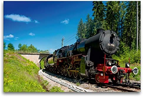 Premium Textil lienzo 120 cm x 80 cm horizontal, Dampflokomotive 52 7596 – Año 1944 – Imagen sobre bastidor, imagen sobre lienzo auténtico, impresión sobre lienzo, tecnología Calvendo
