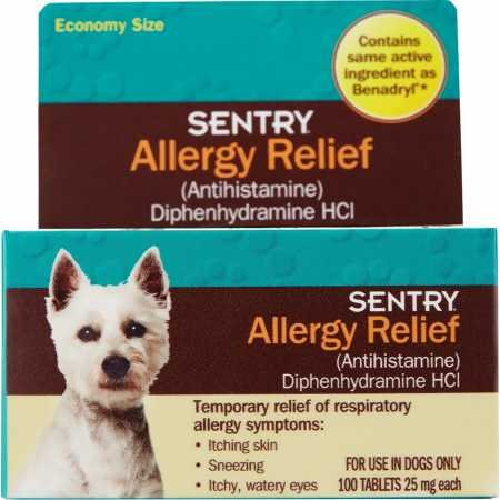 Dogs 100 Tabs - Sentry Allergy Relief For Dogs 100 Tablets 25mg each