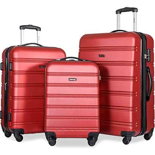 Suitcase Set (Merax Travelhouse Luggage 3 Piece Expandable Spinner Set (Red_1))