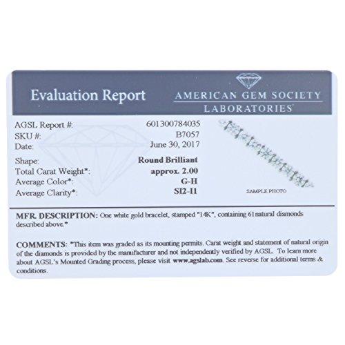 2 CT SI2 I1 AGS Certified Diamond Bracelet 14K White Gold (H I)