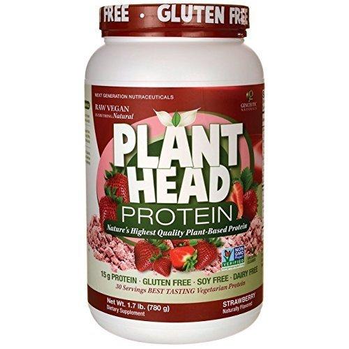 Genceutic Naturals Plant Head Protein Powders Plant Head Protein, Strawberry 30 servings (a) - 2PC - 3PC by Genceutic Naturals