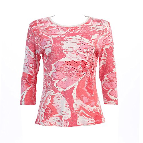 "Jess & Jane ""Coral Flower"" Dressy or Casual Rhinestone Ladies Tee Shirt 14-758WT"