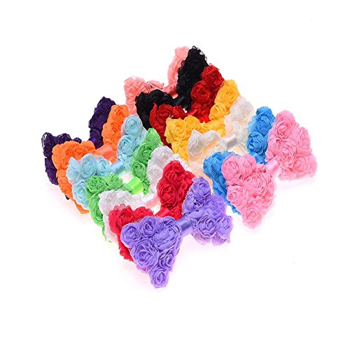 Chiffon Rosette (20pcs Pack Chiffon Rosette BOW Size:8cm DIY Baby Headband Embellishment Craft Supply)