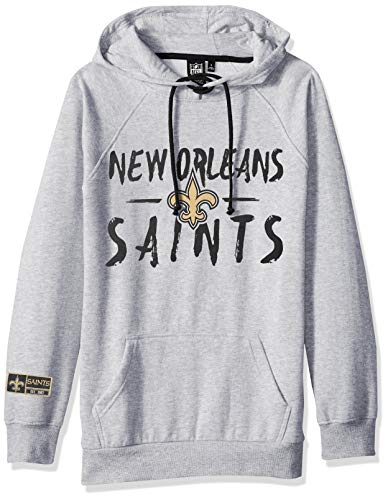 NFL New Orleans Saints Women's Fleece Hoodie Pullover Sweatshirt Tie Neck, Medium, Heather Gray