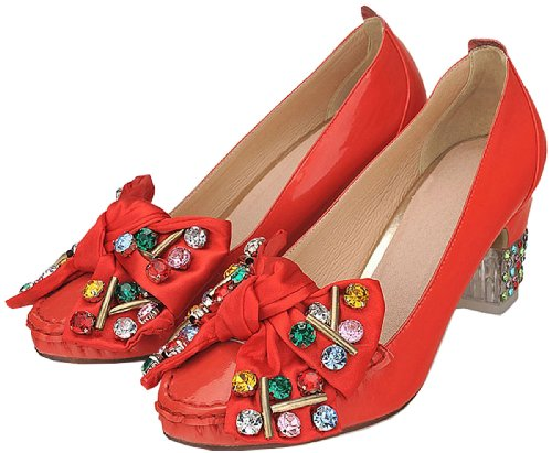 fashion 2095 Mary Womens 5 Kitten Ladies rhinestone Western Red crystal Janes heels shoes 4qqI6w