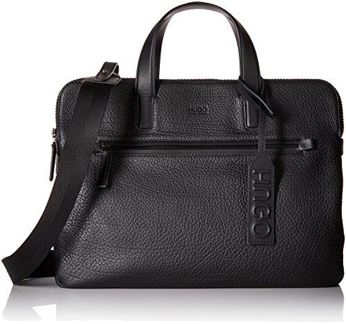 HUGO by Hugo Boss Men's Victorian Leather Workbag, Black, One Size