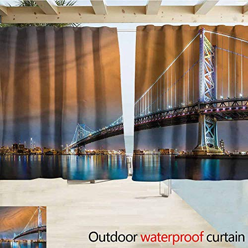 MaryMunger Exterior/Outside Curtains Travel Philadelphia Sky from Camden Rod Pocket Energy Efficient Thermal Insulated W72x45L Inches