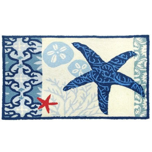 Price comparison product image Homefires Accents Italian Tile with Starfish Indoor Rug, 22-Inch by 34-Inch