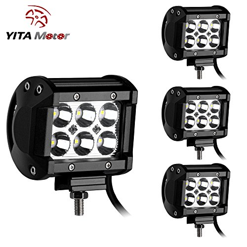 LED Light Bar YITAMOTOR 4PCS 18W 4Inch Led Spot Work Light Led Light Pod Off Road Lights Led Fog Light Truck...