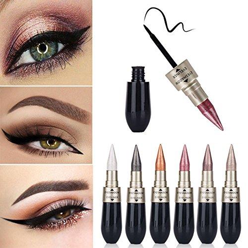 Eyeliner , Amiley Easy to Makeup Double-end Waterproof Liquid EyeShadow Eyeliner Combination set (A)