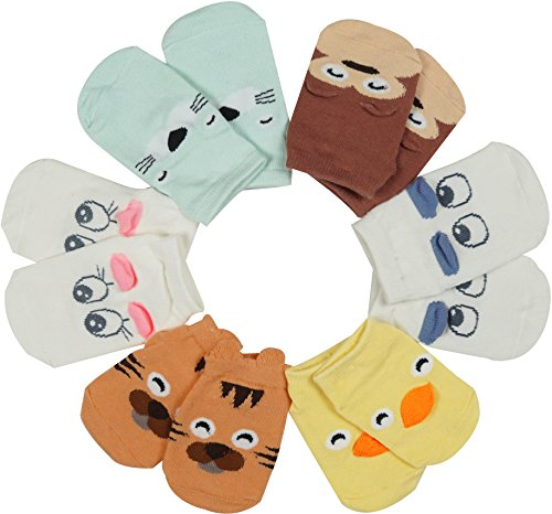 6 Pack Anti-Slip Sole Socks Toddler Baby Animal No-Show Ankle Cotton Floor Boat Socks (Toddler Halloween Ideas)