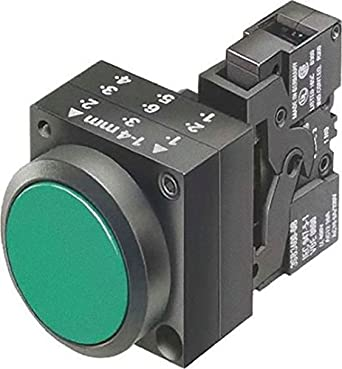 Siemens 3SB3251-0AA41 Pushbutton Unit, Flat Button, Momentary Operation, Illuminated, 110VAC/VDC Integrated LED, 1 NO + 1 NC Contact Type, Green