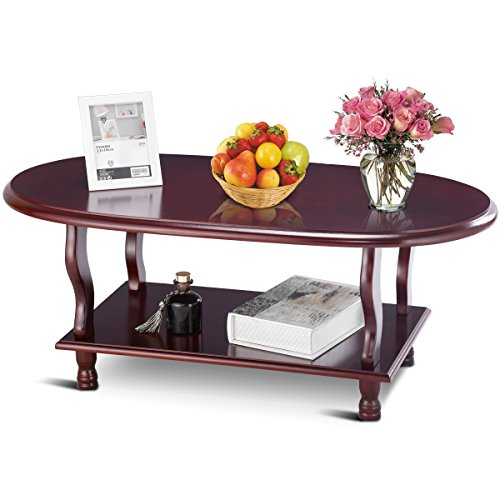 Giantex 2-Tier Oval Cocktail Coffee Table Furniture w/Modern Lower Shelf Storage Classic Style Wood Accent Table for Living Room