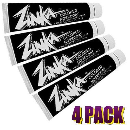 Zinka Colored Sunblock Zinc Waterproof Nosecoat Bundle, Black - 4 Pack