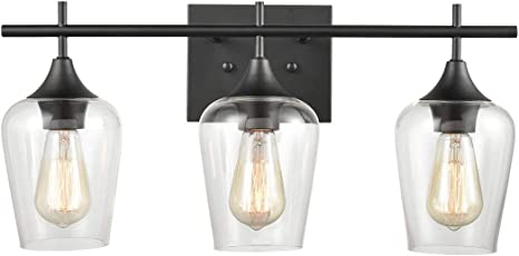 Amazon Com Farmhouse Bathroom Vanity Lights 3 Light Clear Glass Wall Sconces Matte Black Finish Home Improvement
