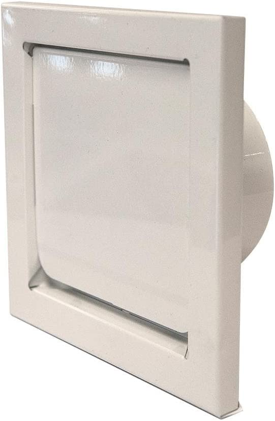 "1-DWV4W - 4"" White Powder Coated Metal Dryer Wall Vent - Painted Wall Cap"