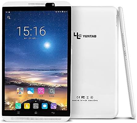 Tableta Yuntab H8 LTE - Teléfono de 8 pulgadas (Quad-core, 64 bits, Android 7.0, GPS, 2 + 16GB, WiFi + 4G, IPS 800 x 1280, DuaL SIM y cámara, ...