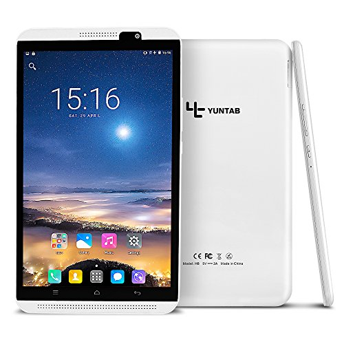 YUNTAB 8 inch Android Unlocked 4G Smartphone/Tablet, Support Dual SIM Cards, 2GB+16GB, Quad-core Processor, IPS Touch Screen, with Dual Camera,WiFi (White)
