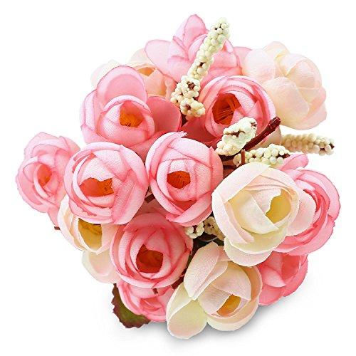 Soledi 10' 6 Branch 18 Heads Artificial Spring Silk Flowers Camellia Magnolia Floral Wedding Peony Arrangement Bouquet Hydrangea D¨¦cor -- Mixed Pink