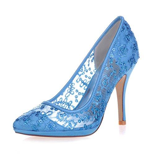 Pompes Mariage 0255 32 De Sequin De De Soirée Talons De Chaussures À Mariée Haute Bleu Fête Femmes Fanciest Bnaw7SZ