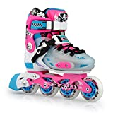 Smartodoors Kids Adjustable Inline Skates Junior Boys Girls Roller Inline Skates (Pink, L(6-8))