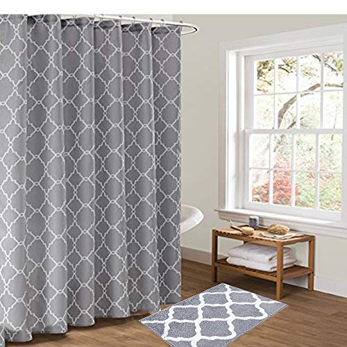 "Pauwer Bath Rug and Shower Curtain Set, Microfiber Non Slip Bathroom Rug 21""x34"" and 72""x72"" Geometric Fabric Shower Curtain Set Grey"