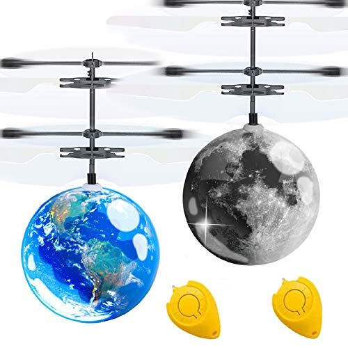 AMENON 2 Pack Flying Ball Kids Toys, Light Up Toy Mini Drone Earth Moon RC Flying Toy Hand or Remote Control Helicopter…