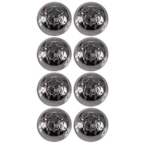 Mibo ABS Metal Plated Crest Shank Button Dome Shape with Heraldic Shield Emblem 36 Line Gunmetal 8 Pack - Shield Emblem