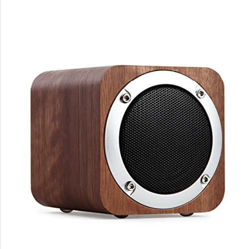 LANSIN New Creative (Walnut) JH08 Wood Wireless Bluetooth speakers Subwoofer, TF Cards, AUX, 1800mAh, FM Radio by LANSIN