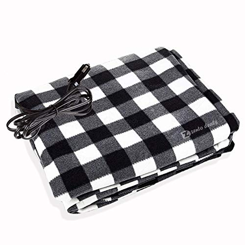 Zento Deals Premium Quality Vehicle Electric Heated Blanket Black and White - 12 Volt Heated Travel Blanket