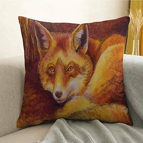 (Fox Silky Pillowcase Monochromatic Fox Resting Painting Style Display Vibrant Animal Art Super Soft and Luxurious Pillowcase W18 x L18 Inch Yellow Orange Burnt Sienna)